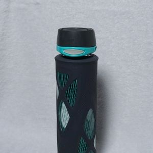 Teal Gray Glass Water Bottle